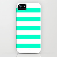 Mint White Stripes iPhone Case by M Studio