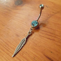 Belly Button Ring - Body Jewelry - Silver Feather Belly Button Ring