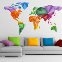 Origami world map decal for housewares