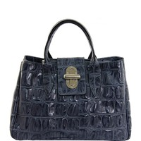 EA Crocodile Pattern Embossed Satchel Made In Italy - EA Handbags New Summer Collection - Modnique.com
