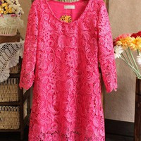 Romantic Princess. Fuchsia Lace Shift Dress. Hot Pink Lacy Dress