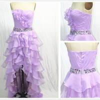 Strapless Sweetheart With Crystal Front Short Long Back Organza Prom Dress, Evening Gown, Homecoming Dresses, Evening Dresses, Sexy Dresses