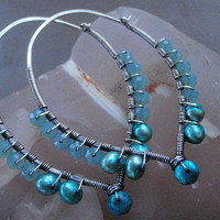Aqua Swarovski and Pearl Inverted Teardrop Hoops