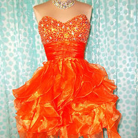 ORANGE HOMECOMING PROM COCKTAIL EVENING PAGEANT SHORT WEDDING GOWN DRESS XS 2/4
