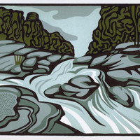 STREAMING WATER linocut