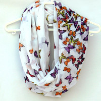 Circle Scarf with Butterflies. Infinity Scarf. Women Accessories. Loop Scarf, Tube Scarf