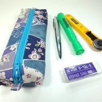 Pencil Case, Pen Case, Pen Holder, Kimono Pencil holder Japanese Kimono cotton fabric Cherry Blossoms Blue