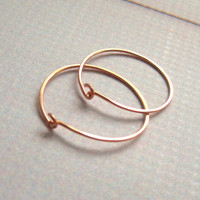 Rose Gold Filled Hoop Earrings 1 inch to 1.25 inch Every day Hoop earrings