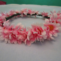 One-of-a-Kind Flower Crown- Pink and Yellow Daisies