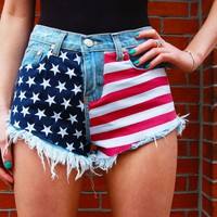 American Flag Print High Waisted Denim Shorts