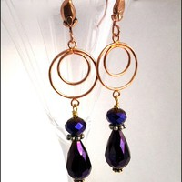 Circular Copper Earrings Purple Passion Crystal Tear Drop Earrings