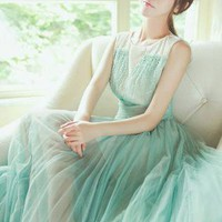 Pleated Mesh Sequins Mint Green Dress