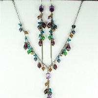 Antique gold chain with purple, green and blue beads