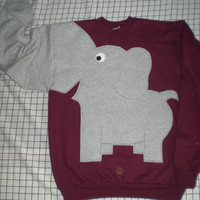 Fun Elephant Trunk sleeve sweatshirt UNISEX mens M Maroon