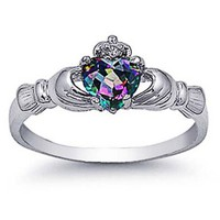 Rhodium Plated Sterling Silver Wedding & Engagement Ring Rainbow Topaz CZ Claddagh Ring 9MM ( Size 4 to 10): Jewelry
