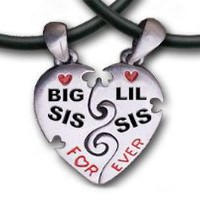 Big Sis & Lil Sis Heart Pendant Necklaces with chains. (17.5 PVC) Pewter (2) piece set with PVC ropes are a great gift idea for an older big sister or a younger little sister! (Broken Heart Friendship jewelry design - Sister jewelry / sister gifts)