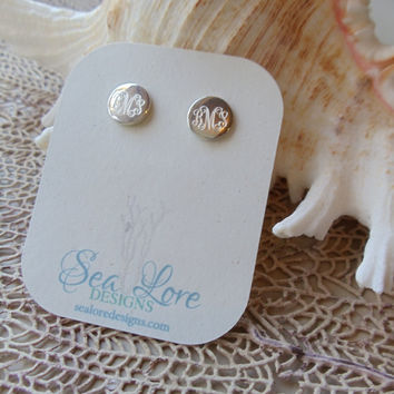 MONOGRAM Earrings, sterling silver earrings, stud earrings