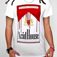 'NuSkool Addiction' Acid House T-Shirt White, ring-spun cotton | Acid Unicorn® Clothing Store