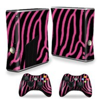 Amazon.com: Protective Vinyl Skin Decal Cover for Microsoft Xbox 360 S Slim + 2 Controller Skins Sticker Skins Zebra Pink: Video Games