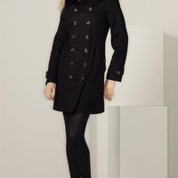 Burberry London Double Breasted Wool & Cashmere Coat with Fox Fur Collar