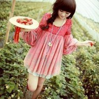 Lovely lantern sleeve round neck Chiffon dress thin by Jordan58