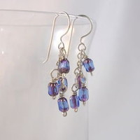 Purple Czech Glass Argentium Silver Cluster Dangle Earrings