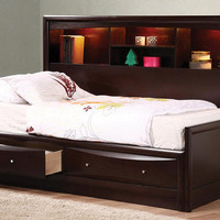 Leon Twin Size Big Bookcase Captain&#x27;s Bed