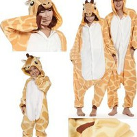 Zicac Costume Giraffe Animal Children and Adult Pajamas Pyjamas Sleepwear Nightclothes Loungewear Cosplay(160-170cm): Baby