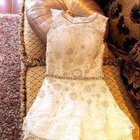 Nail bead lace skirt for girls