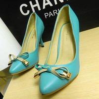 Free shipping Commuter bow waterproof high-heeled shoes_High shoes_Fashion shoes_Mili fashion Trade Co.Ltd