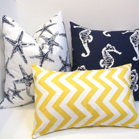 Navy blue and corn yellow 3 pc set  pillow covers, starfish nautical design slub, linen-like fabric, accent decor