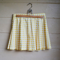 Vintage 1980s Yellow and White Check Mini Skirt Block Print Skirt Size 12
