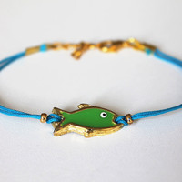 friendship bracelet with Enamel Green Fish