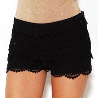 Lace Tier Hot Pants in Black