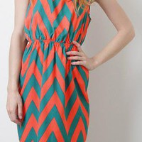 Coral & Teal Chevron Dress