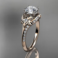 14kt  rose gold diamond floral wedding ring,engagement ring ADLR125 Free Overnight Shipping