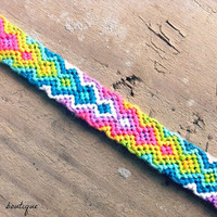 Rainbow Zig Zag Friendship Bracelet by BrandiisBoutique on Etsy