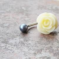 Ivory Rose Flower Belly Button Ring Jewelry