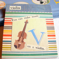 Kids Nursery Art - V Is For Violin - You Can Make Music On A Violin - ABC Alphabet Ready to Frame Collage Wall Home Childrens Decor
