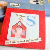 Kids Nursery Art - S Is For School - In School We Learn To Read And Write - ABC Alphabet Ready to Frame Collage Wall Home Childrens Decor