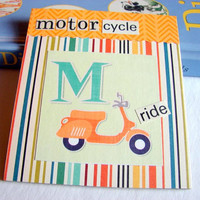 Kids Nursery Art - M Is For Motorcycle - Ride - ABC Alphabet Ready to Frame Collage Wall Home Childrens Decor