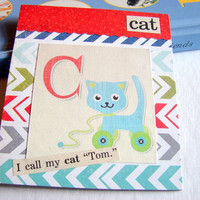 Kids Nursery Art - C Is For Cat - I Call My Cat Tom - ABC Alphabet Ready to Frame Collage Wall Home Childrens Decor