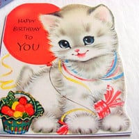 Birthday Greeting Card Keepsake Magnet - Happy Birthday To You Kitten With A Red Balloon - Retro Vintage Kitsch