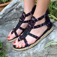 Purple Womens Gladiator Sandals, Summer Shoes In Hmong Embroidery Isadora