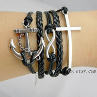 Unisex simple fashion silver 8 infinity wish, Anchor and cross bracelet--black wax rope and Leather braided leather bracelet