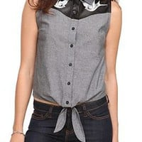 Chambray Swallow Tie Front Top - 10006155