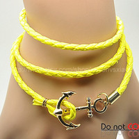 Cuff Leather Fashion Style Anchor Buckle Bracelet Yellow Leather Personalized Adjustable Bracelet 2232S