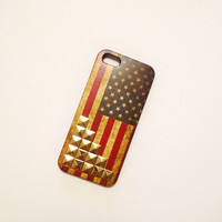 Retro American Flag Iphone 5 Hard Case with gold studs