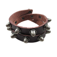 Cuff  Leather Bracelet Adjustable Brown Leather Rivets Bracelet jewelry bracelet bangle bracelet  2236S