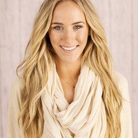Ivory Solid and Basic Jersey Knit Infinity Loop Scarf - In the Loop Scarf in Ivory